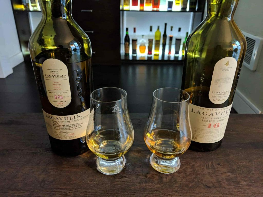 Two bottles of Whisky with two glasses in between and a bar behind.