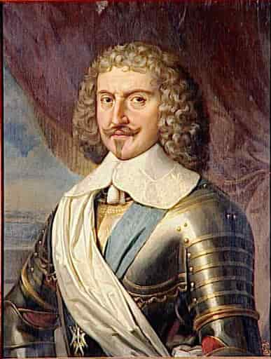 Portrait of man in Renaissance clothing and armor with curly hair.
